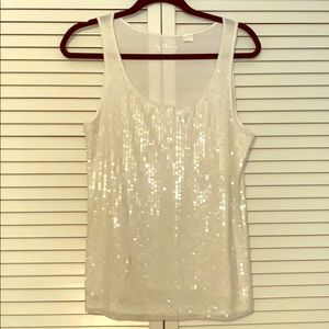 Chico's Sequined Sleeveless White Top